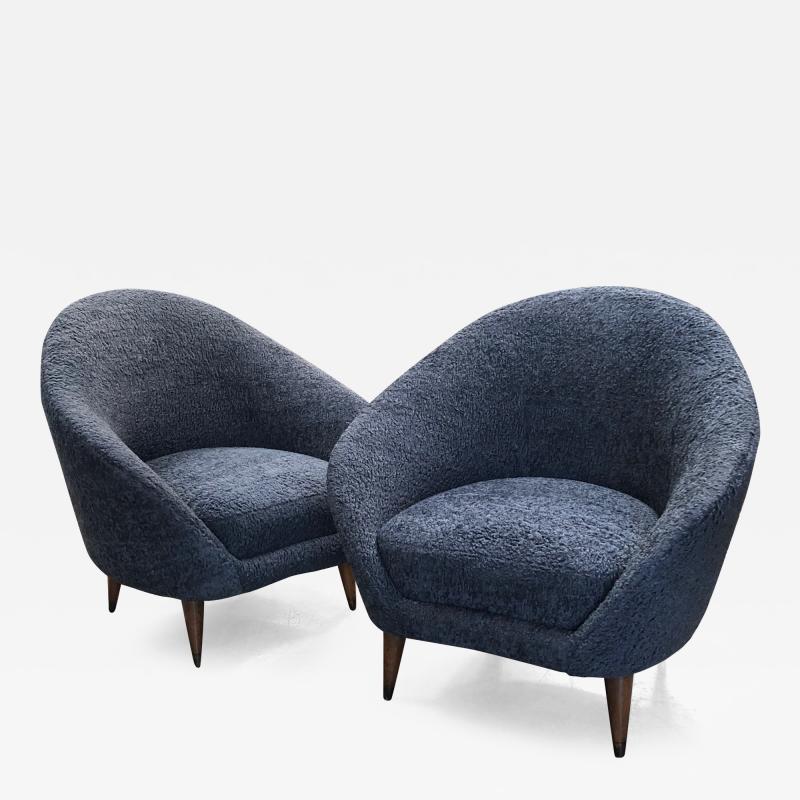 Federico Munari Federico Munari chairs Mid Century Italian Curved Lounge Chairs 1958