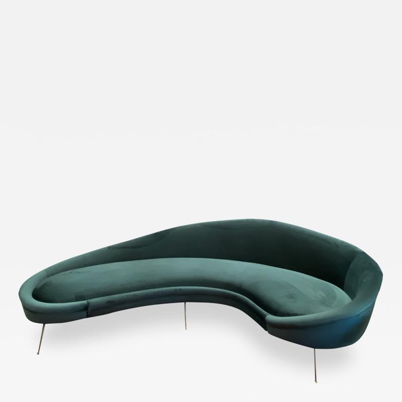 Federico Munari Italian Sculptural Sofa in Velvet Attributed to Federico Munari Italy 1950s