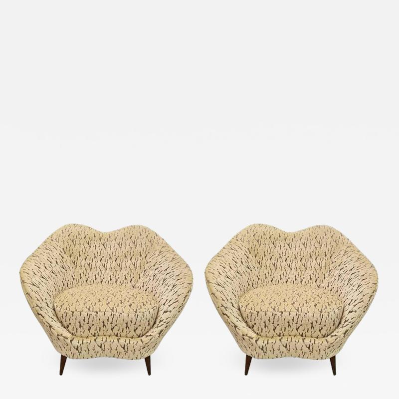 Federico Munari Pair of Federico Munari Italian Midcentury Ivory Charcoal Velvet Lounge Chairs