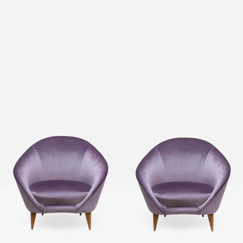 Federico Munari Pair of Mid Century armchairs Italian design by Federico Munari