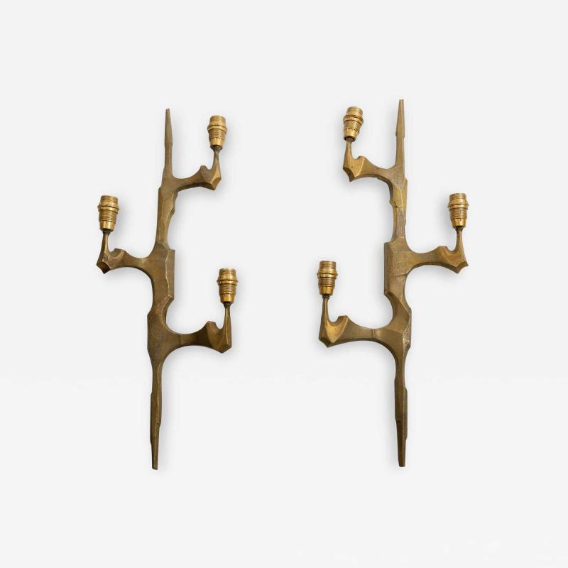 Felix Agostini Pair Of Bronze sconces in the style of Felix Agostini