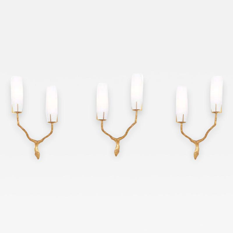 Felix Agostini Set of 3 Bronze Sconces or Wall Lamps by Felix Agostini for Maison Arlus France