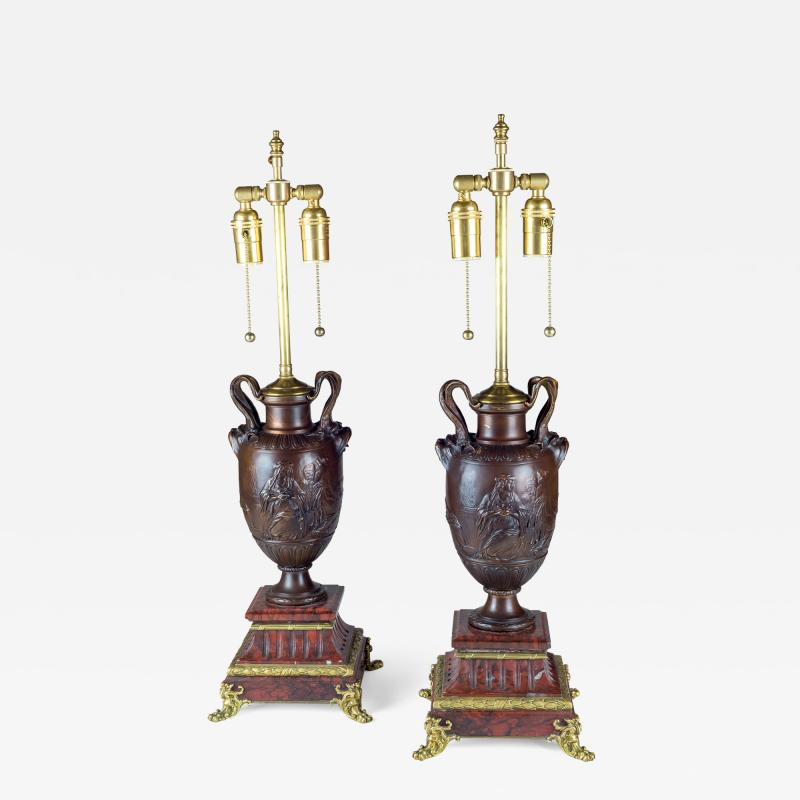 Ferdinand Barbedienne A Fine Pair of Neo Classical Revival Bronze Urns Mounted as Lamps
