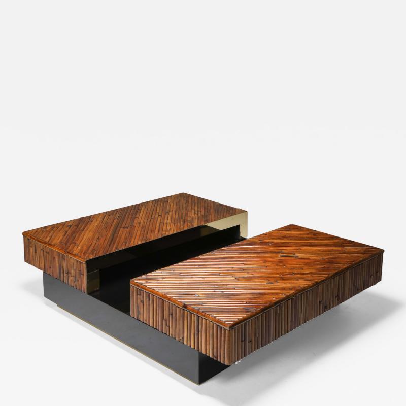 Ferdinando Loffredo Bamboo Black Lacquer and Brass Coffee Table Italy 1970s
