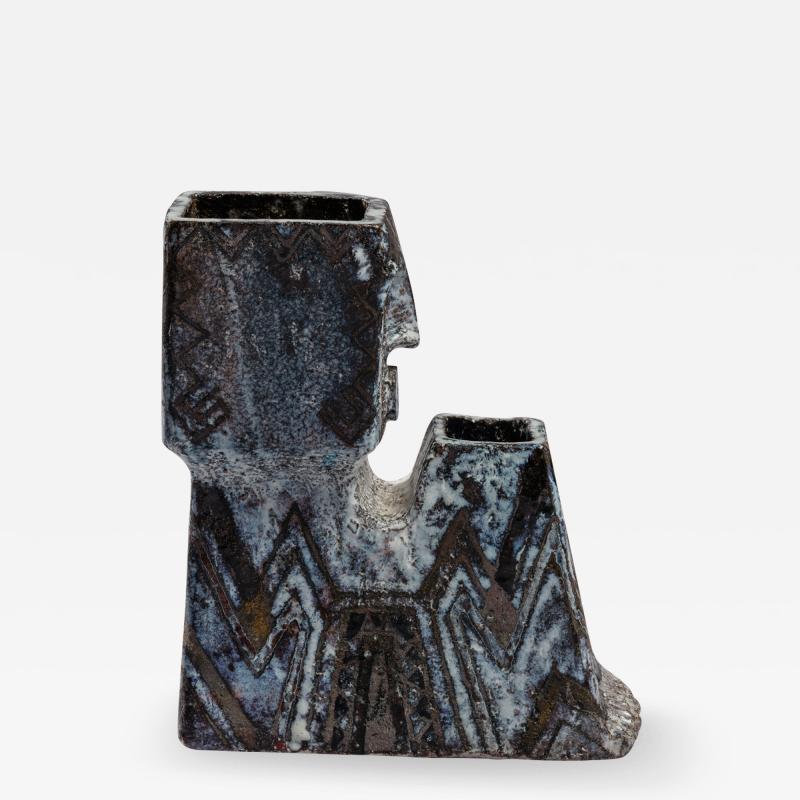 Fernande Kohler Fernande Kohler Sculptural Vase In Glazed Ceramic Vallauris France 1970s