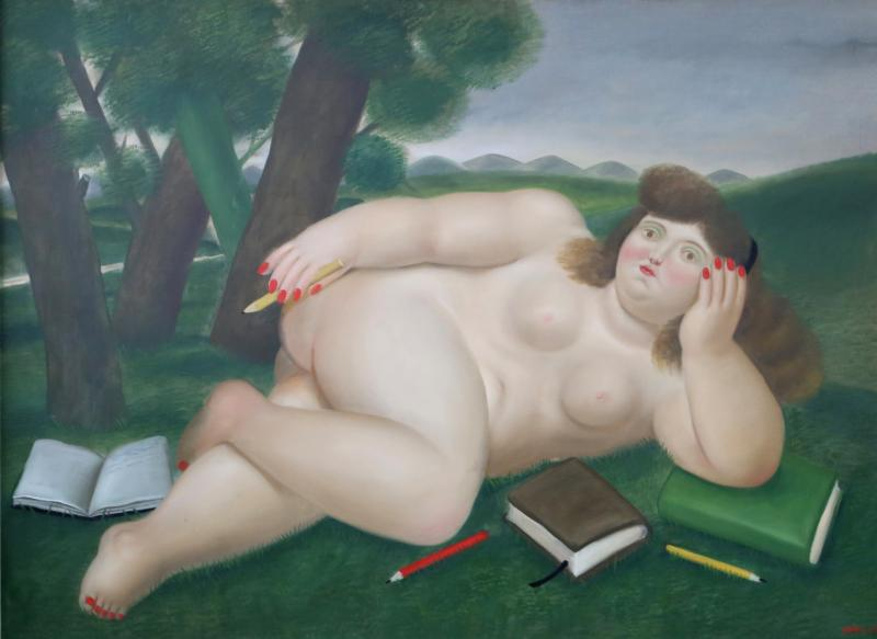 Fernando Botero Reclining Nude with Books and Pencils on Lawn