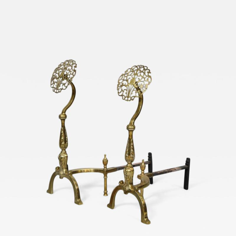 Filigree Brass Andirons