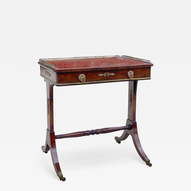 Fine 1815 Regency Mahogany and Bronze Mounted Writing Table