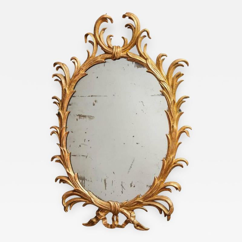 Fine 18th Century English Giltwood Oval Mirror