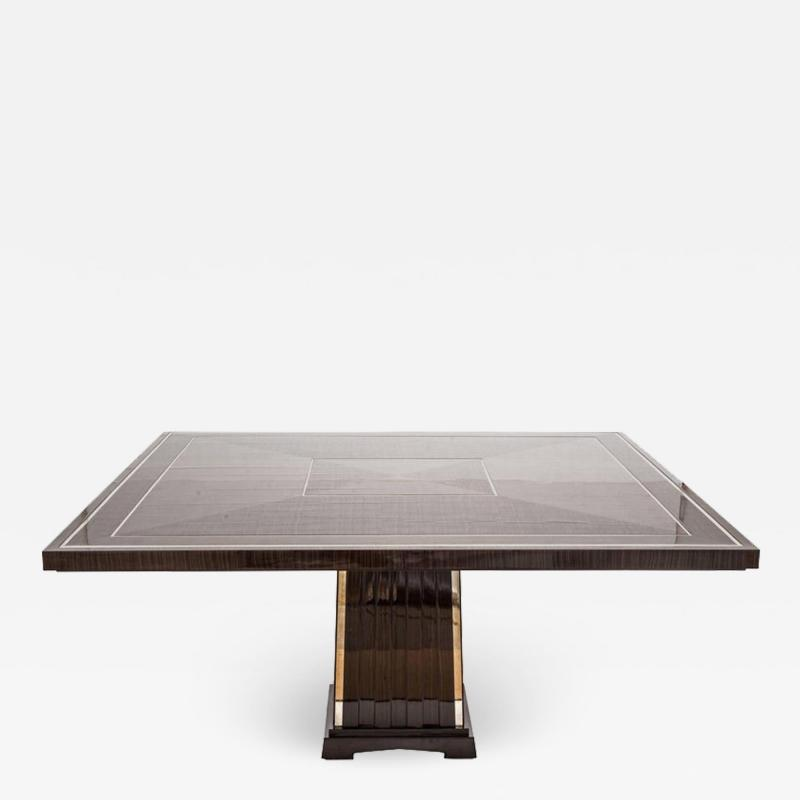 Fine Bespoke Dining Room Table Veneer Wood Top and Base with Chrome Inserts