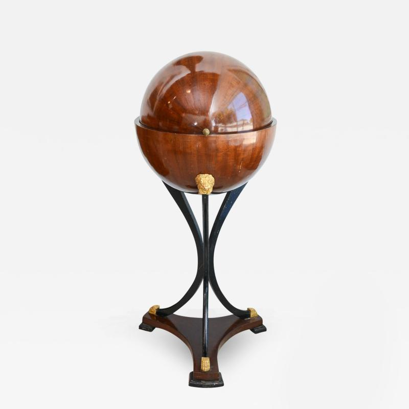 Fine Biedermeier Mahogany Ebonized and Parcel Gilt Globe Form Work Desk