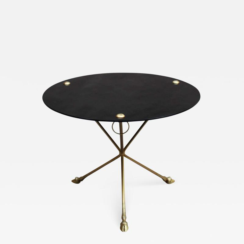 Fine French 1950s Opaline Top Side Table with a Bronze Base