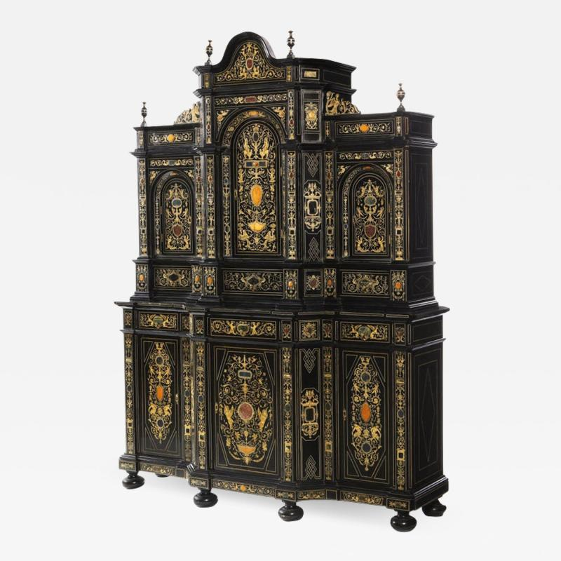 Fine Italian Baroque Ebonized Wood Faux Ivory and Hardstone Cabinet 2 of 2