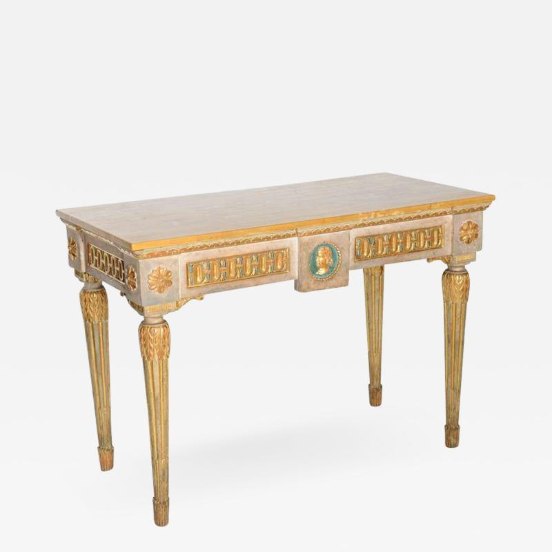 Fine Italian Neoclassic Painted and Parcel Gilt Console Roman Late 18th Century