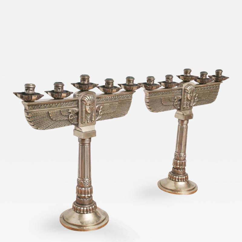 Fine Pair of Art Deco Silvered Bronze Five Light Candelabra