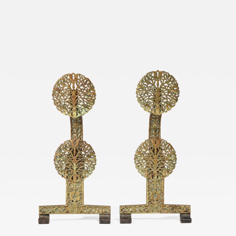 Fine Pair of English Arts Crafts Andirons