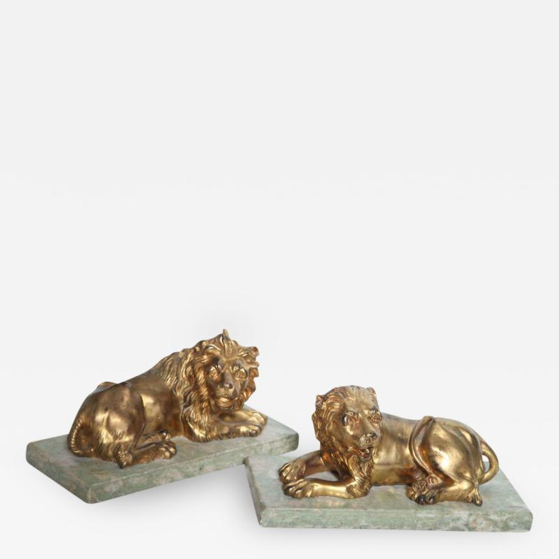 Fine Pair of Gilt Bronze Lion and Lioness on Marble Bases Italy