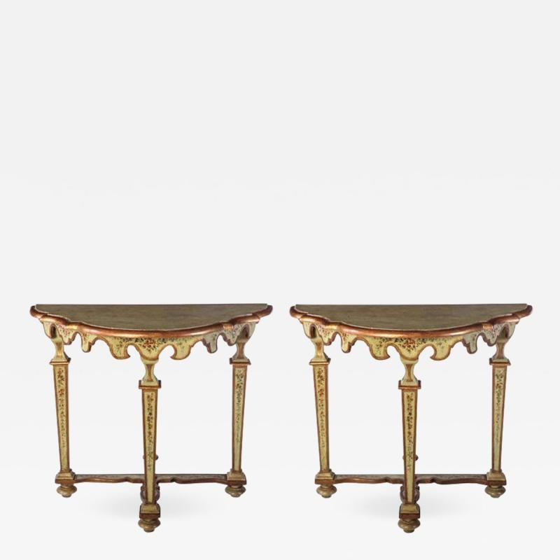 Fine Pair of Italian 18th Century Painted Console Tables with Pair of Mirrors