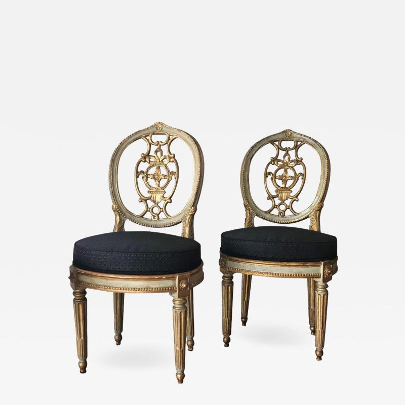 Fine Set of Eight Italian Painted and Parcel Gilt Chairs Tuscany 18th Century
