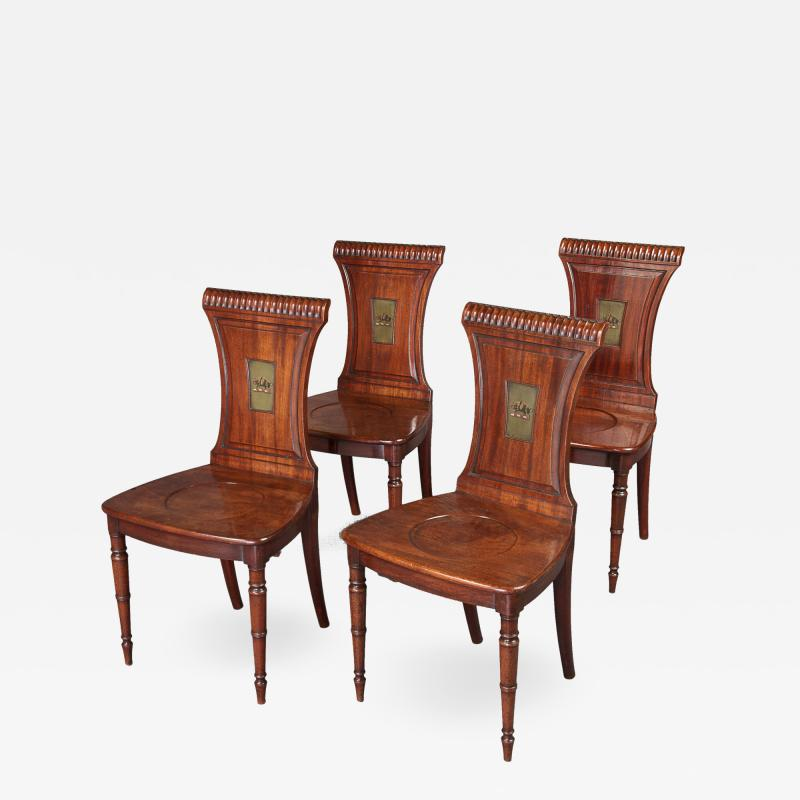 Fine Set of Four Regency Mahogany Armorial Hall Chairs