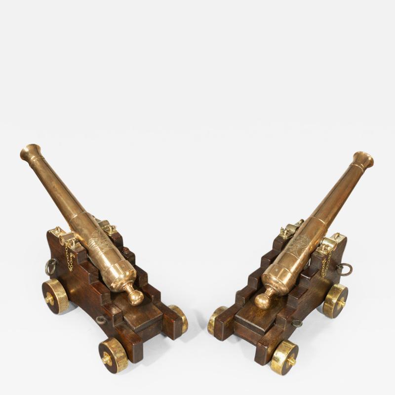 Fine pair of 19th Century English 41 barrel bronze cannon