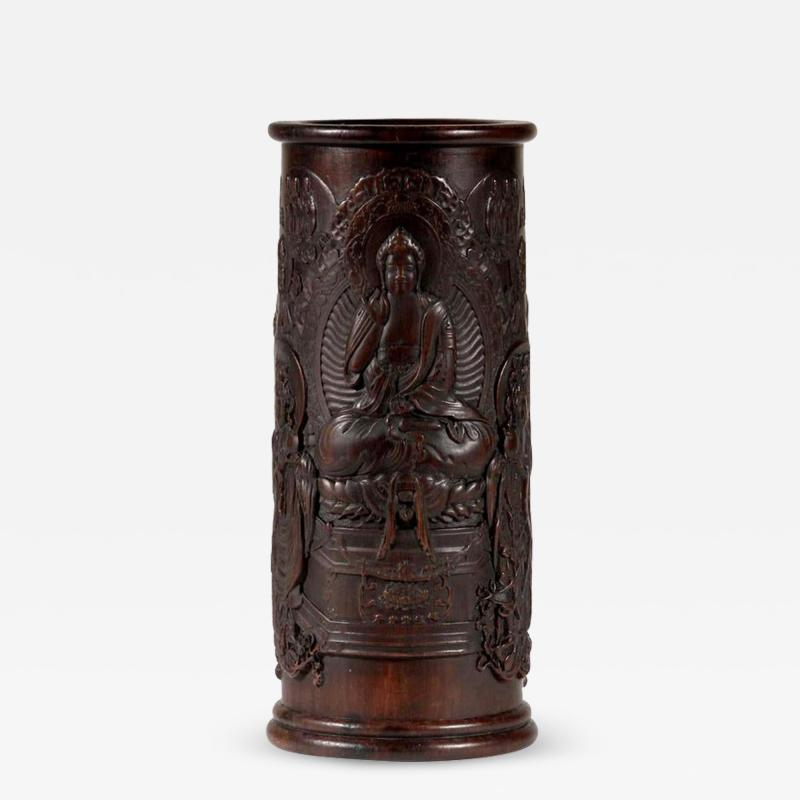 Finely Carved Chinese Brush Holder Pot