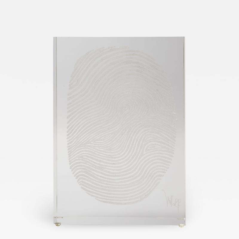 Finger Print Lucite Sculpture by Wolf