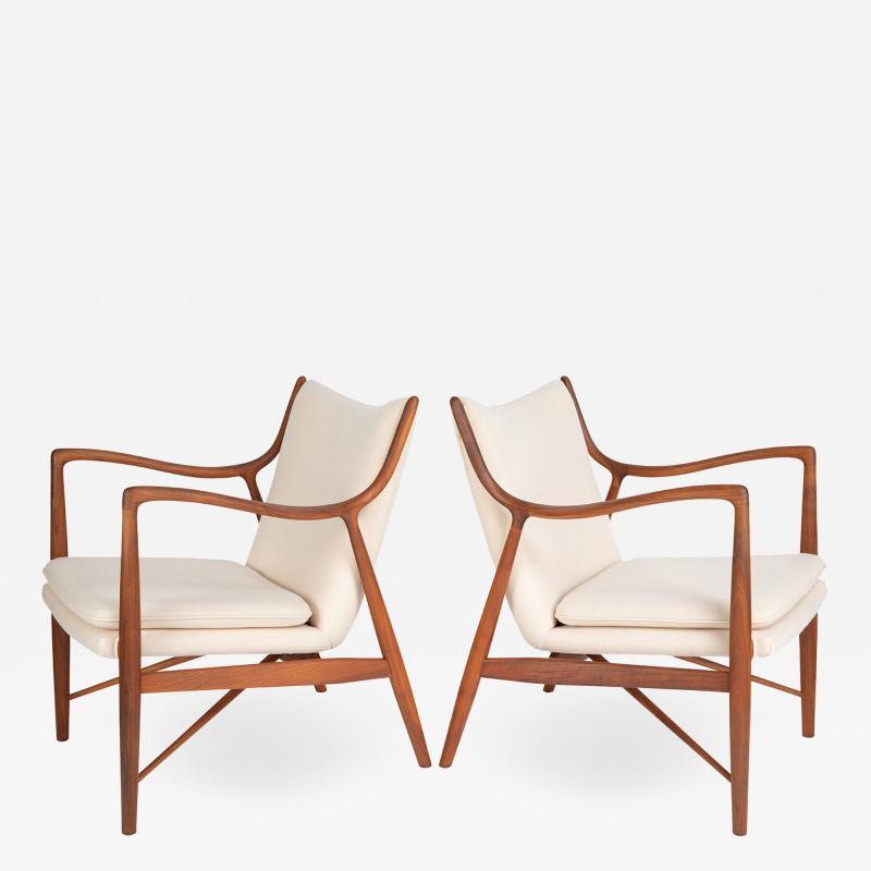 Finn Juhl Finn Juhl Pair Of Iconic 45 Lounge Chairs 1950s