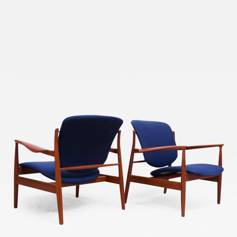 Finn Juhl Finn Juhl Teak Lounge Chairs Model FD 136 for France Daverkosen