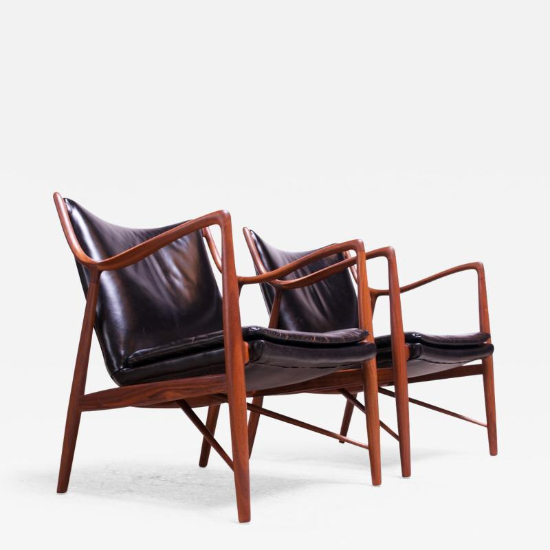 Finn Juhl Pair of Vintage Walnut and Leather 45 Lounge Chairs by Finn Juhl for Baker