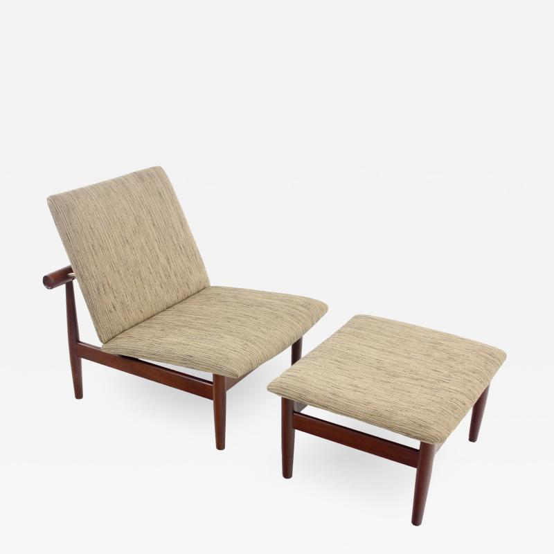 Finn Juhl Rare Scandinavian Modern Japan Chair Ottoman by Finn Juhl