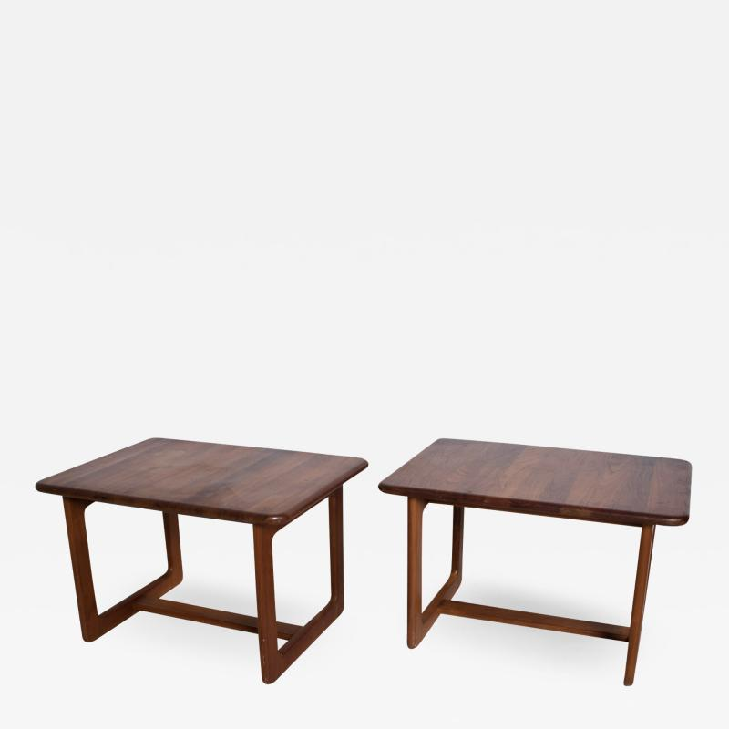 Finn Juhl Scandinavian Solid Teak Wood Side Tables Rectangular FINN JUHL Denmark 1980s