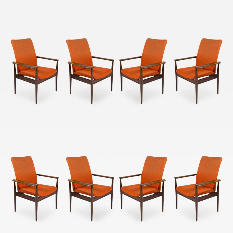 Finn Juhl Set of Eight Rosewood Finn Juhl Diplomat Armchairs