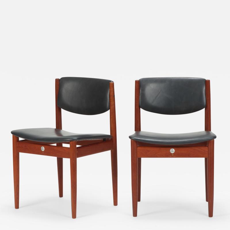Finn Juhl Two Finn Juhl Model 197 Chairs Leather and Teak 60s