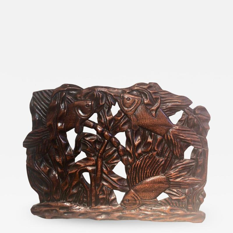 Fish Themed Wood Carved Art Deco Sculpture