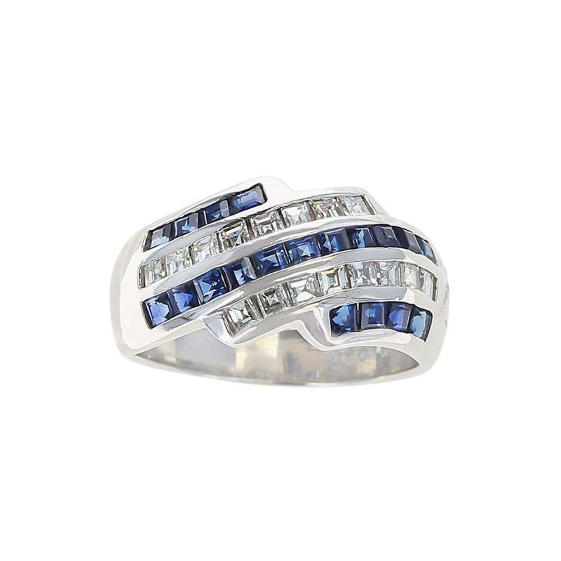 Five Row Linear Patterned Invisibly Set Sapphire and Diamond Ring Platinum