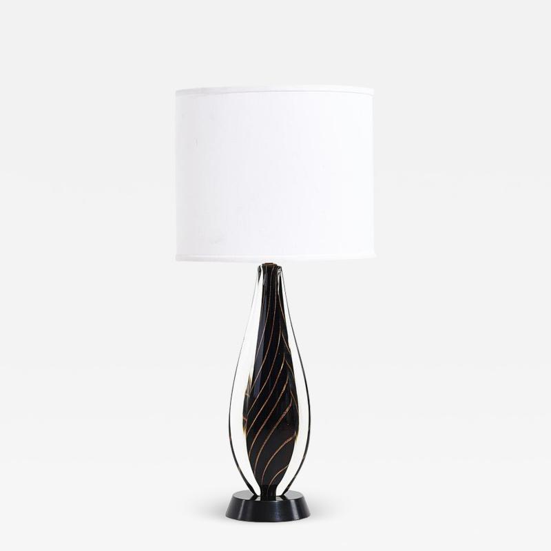 Flavio Poli Black Sommerso Murano Lamp by Flavio Poli for Seguso 1950