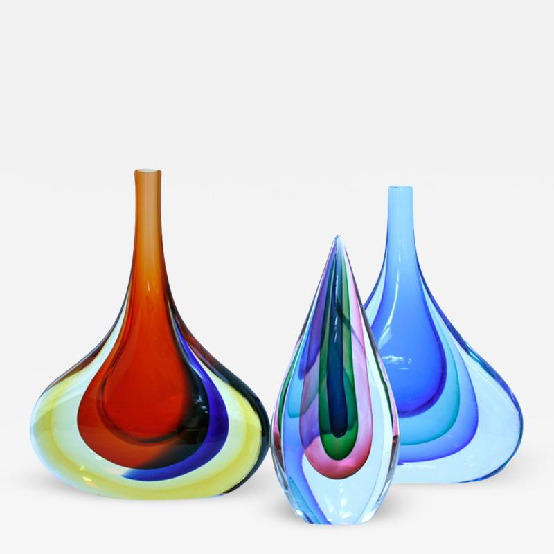 Flavio Poli Set of Three Flavio Poli Murano Glass Italian Vases