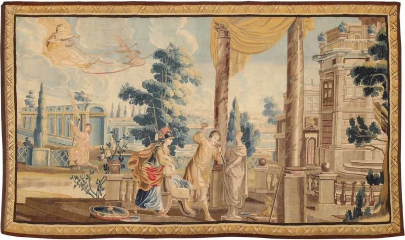 Flemish School Sublime 17th Century Flemish Tapestry Allegory of the sculptor wool and silk