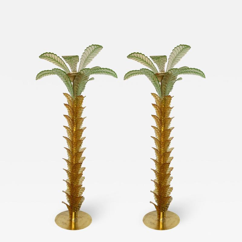 Floor Lamps Palm Tree Murano Glass and Brass Italy