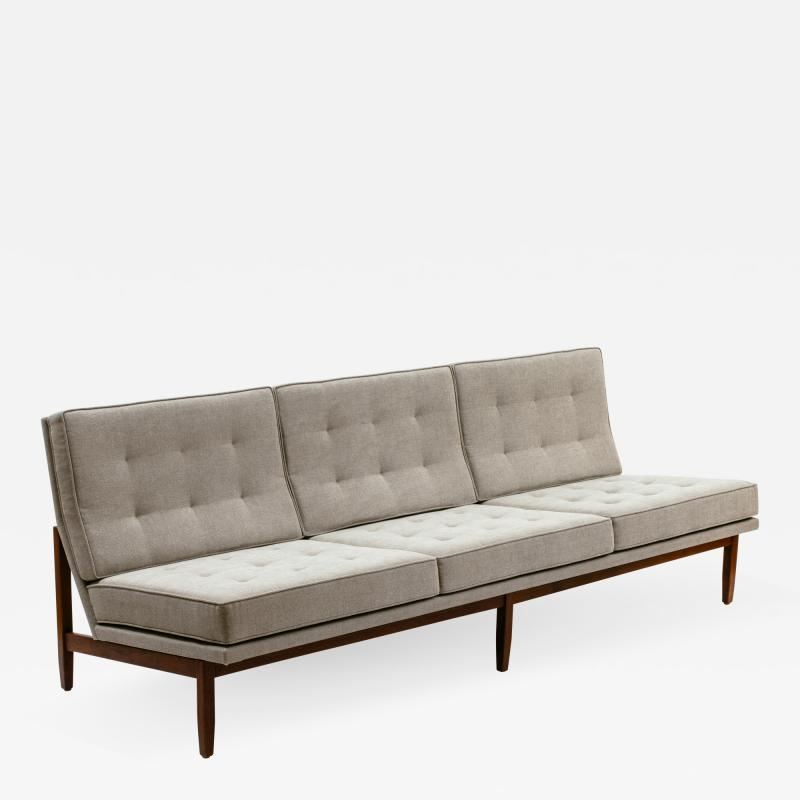 Florence Knoll Florence Knoll Armless Three Seat Sofa with Walnut Frame and New Gray Upholstery