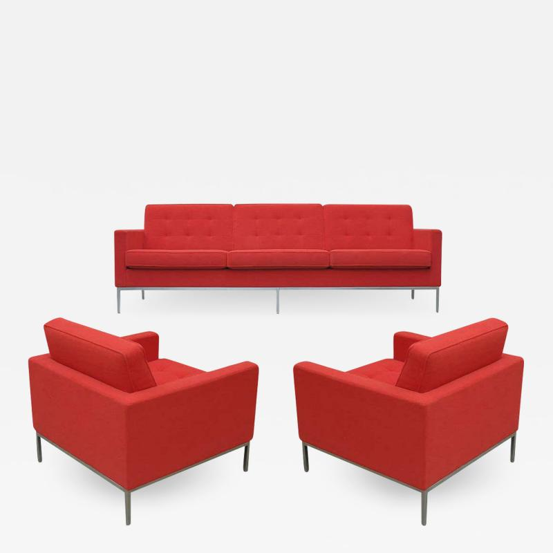 Florence Knoll Florence Knoll for Knoll Sofa and Matching Lounge Chairs Living Room Set in Red