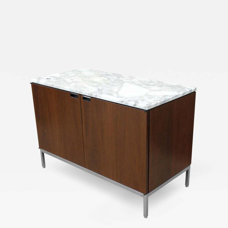 Florence Knoll Knoll Marble Top Credenza in Walnut and Calacatta Designed by Florence Knoll