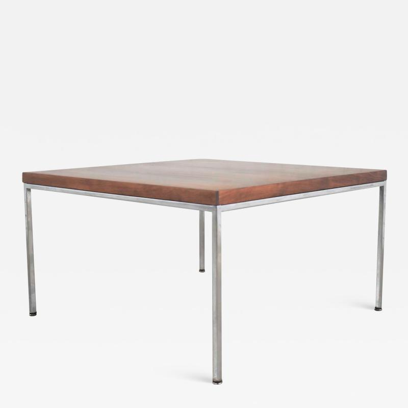 Florence Knoll MCM chrome walnut end or coffee table in the style of florence knoll
