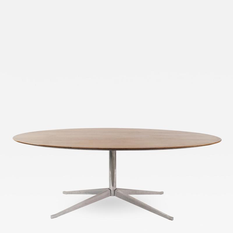 Florence Knoll Mid Century American Teak Oval Dining Table