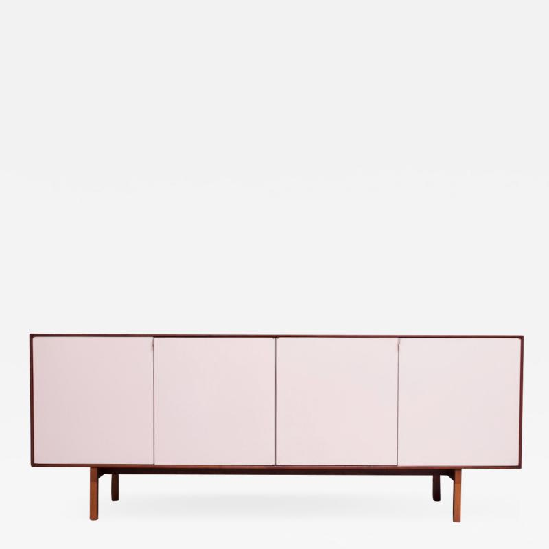 Florence Knoll Vintage Florence Knoll White Lacquer and Walnut Credenza Cabinet Model 541