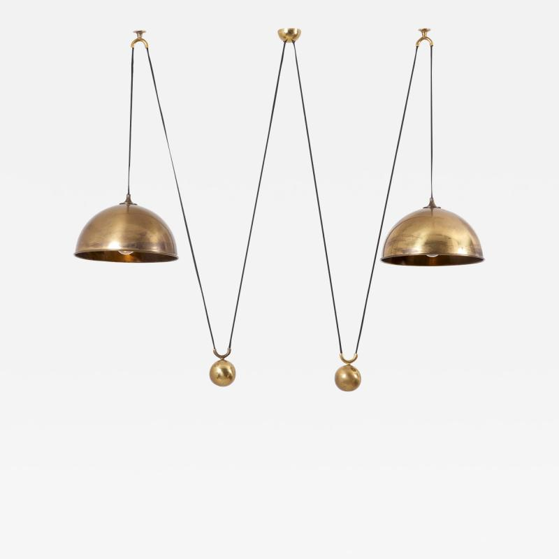 Florian Schulz Double Posa Pendant Lamp with Side Counter Weights by Florian Schulz 1970s