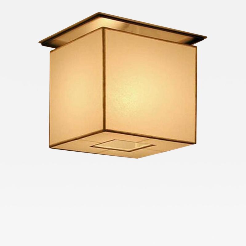 Flush Mount Custom Metal Cube Linen Fixture