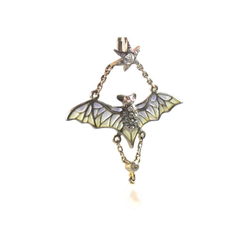 Flying Bat Georg Kleeman Pendant Plique A Jour Sterling Silver