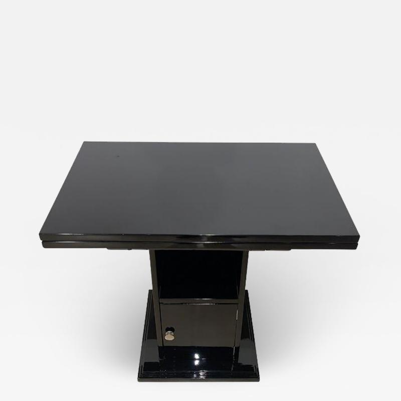 Foldable French Art Deco Side Table with Compartment Black Lacquer France
